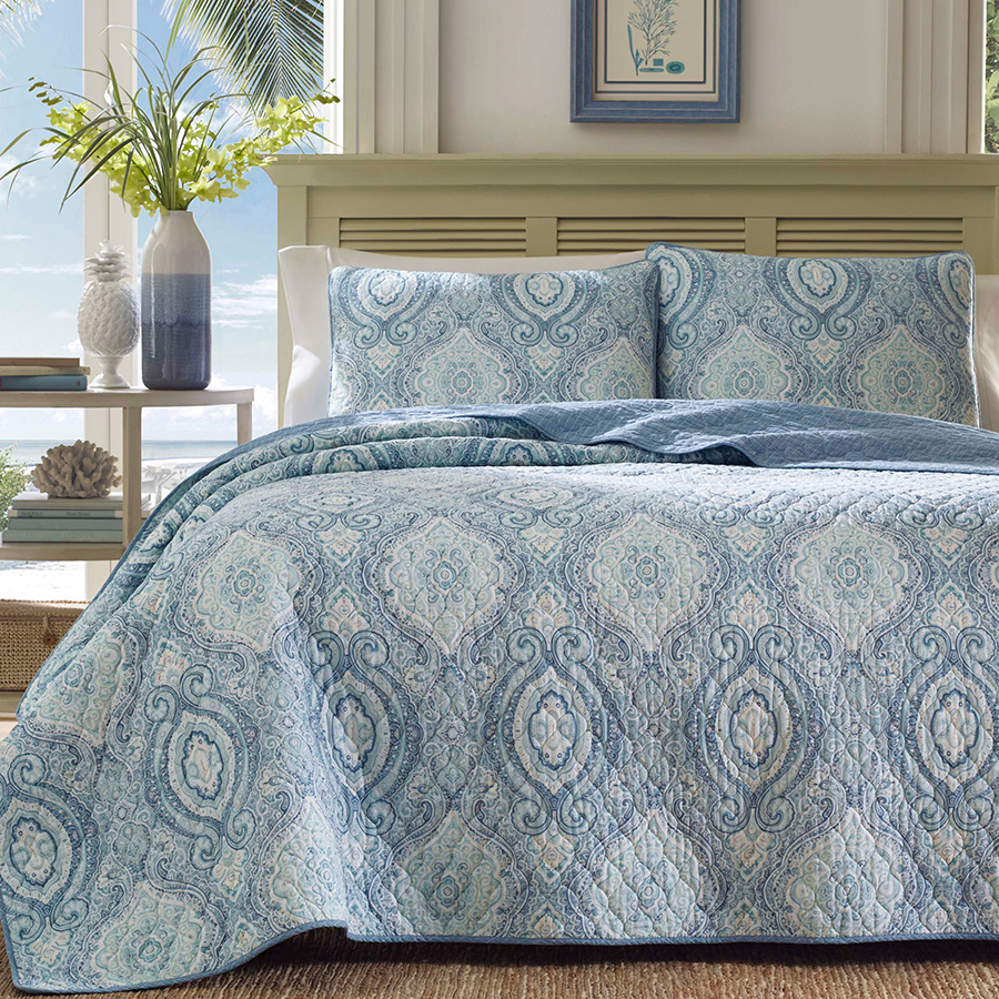 Tommy Bahama Turtle Cove Caribbean Blue Quilt Set From