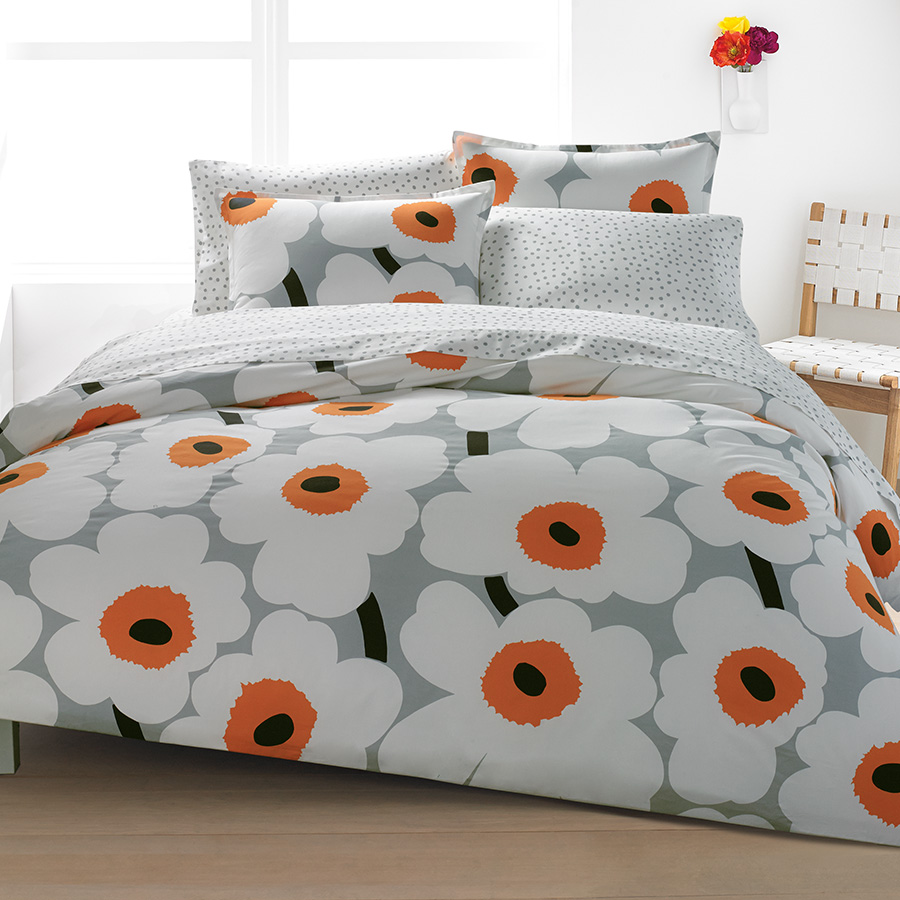 Marimekko Unikko Orange Duvet Set from Beddingstyle.com