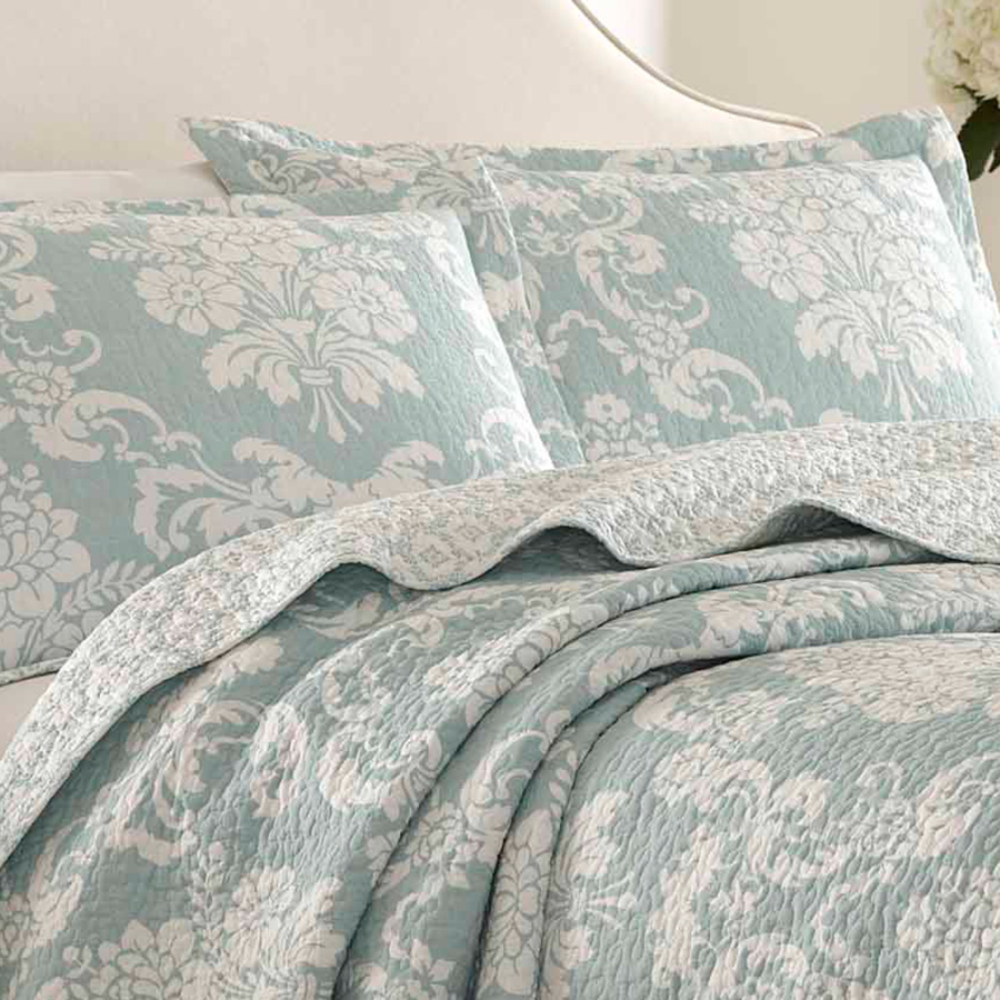 Laura Ashley Venetia Duck Egg Quilt Set From Beddingstyle Com