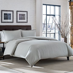 Wallace Stripe Light Chrome Flannel Duvet Set
