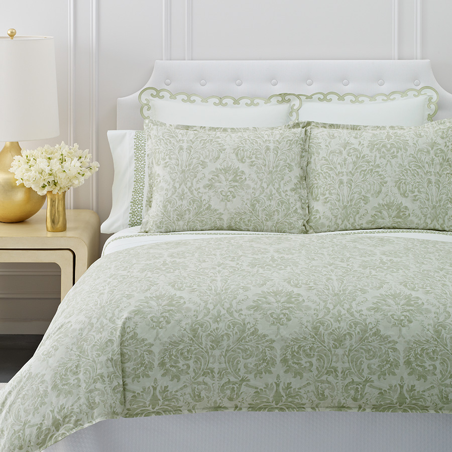 King Flat Sheet Scroll Embroidery Green