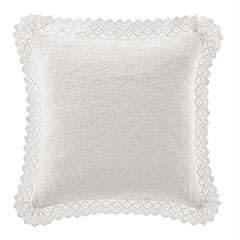 Laura Ashley White Crochet Decorative Pillow