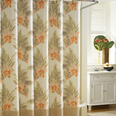 Tommy Bahama Wicker Floral Shower Curtain