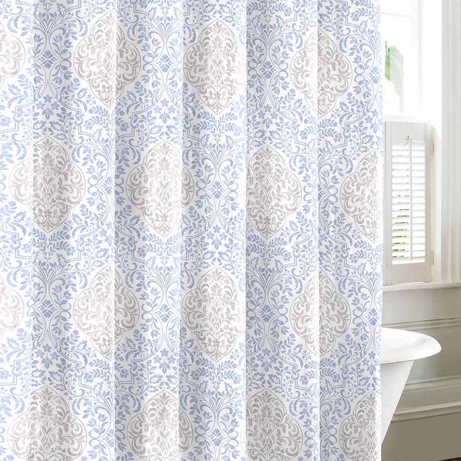 laura ashley winchester blue and gray shower curtain from
