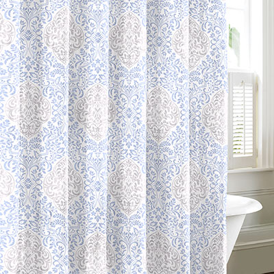 Laura Ashley Winchester Blue & Gray Shower Curtain