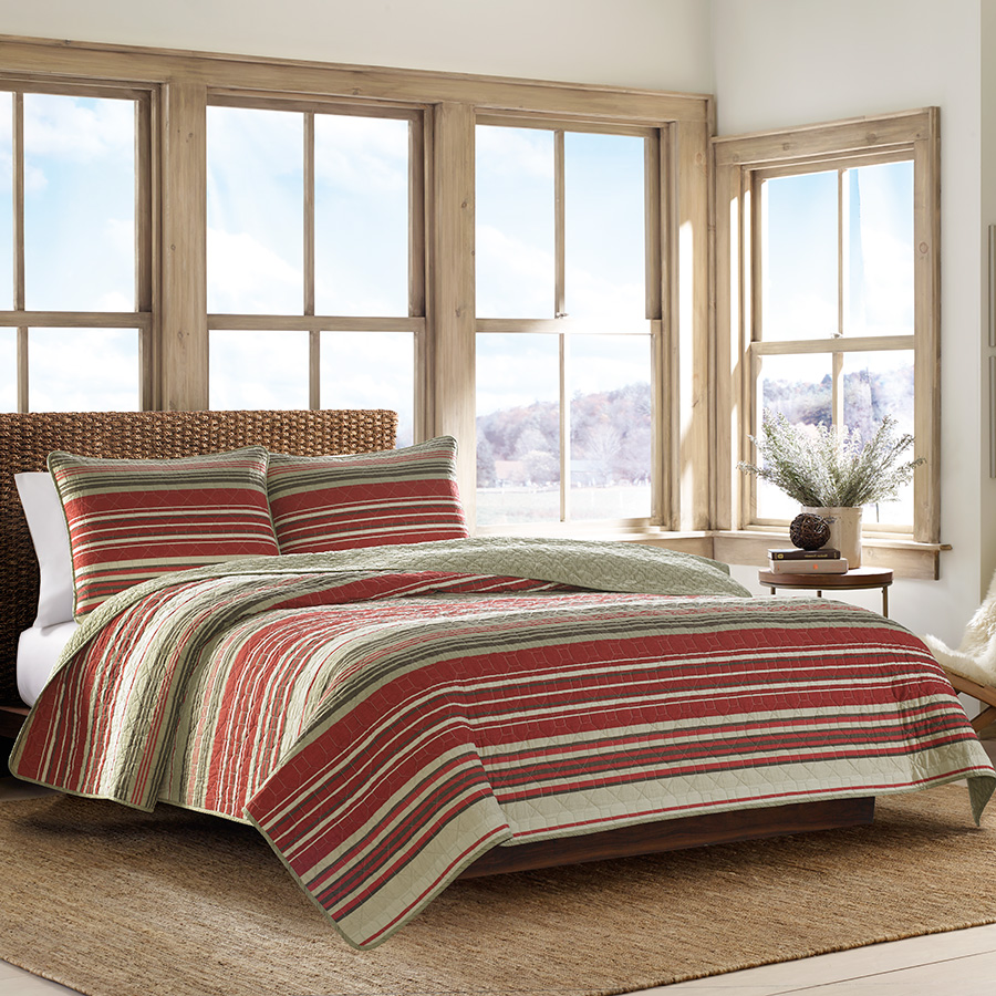 Eddie Bauer Yakima Valley Stripe Red Quilt Set From